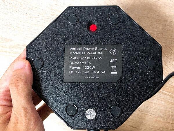te-richのタワー式電源タップの雷ガード機能