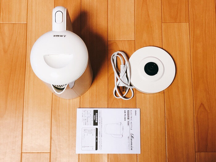 ドリテック 電気ケトル ラミン ホワイト PO-323WTの付属品