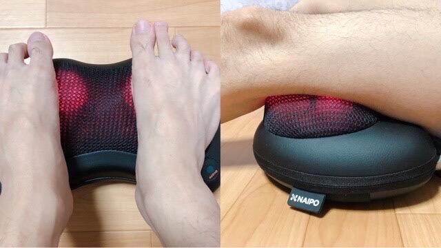 Naipoマッサージクッションを太ももと足裏に使用