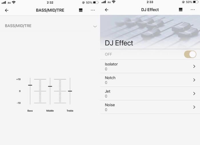 アプリの「Music Center」でイコライザー調整ができる