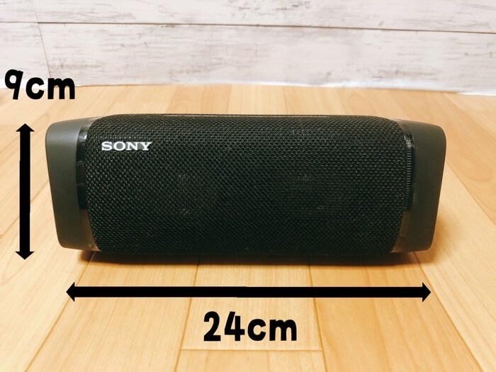 ソニー ワイヤレスポータブルスピーカー SRS-XB33の付属品やサイズ感2