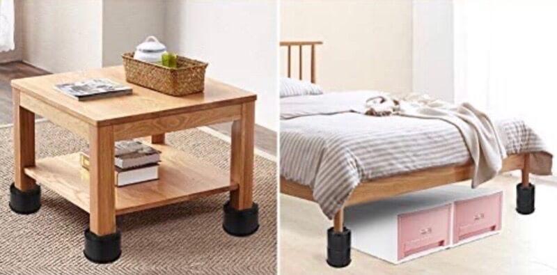 継ぎ足しのゴムを使って机の高さを上げる方法