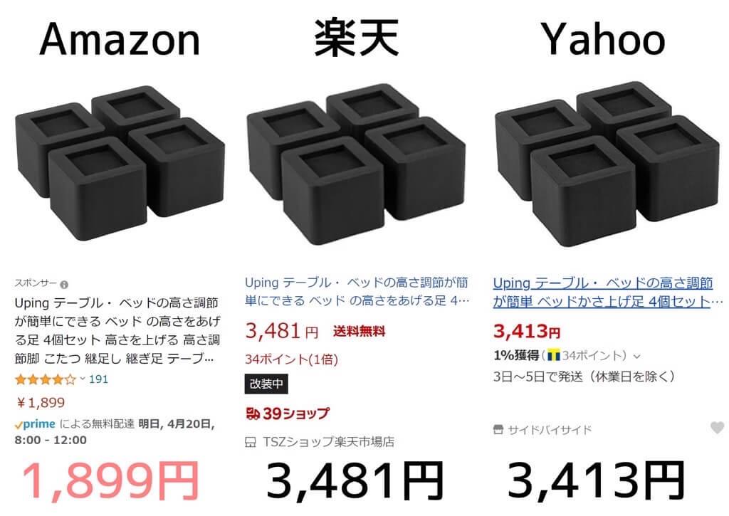 Upingの継ぎ足しをAmazonと楽天とYahooショッピングで値段を比較